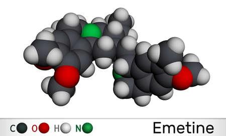 Emetine molecule. It is an antiprotozoal agent and emetic. Molecular model. 3D rendering 스톡 콘텐츠