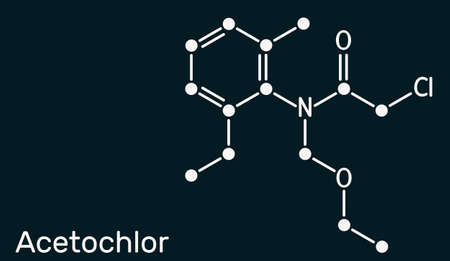Acetochlor molecule. It is chloroacetanilide, herbicide, a xenobiotic and an environmental contaminant. Skeletal chemical formula on the dark blue background. Illustration 스톡 콘텐츠