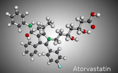 Atorvastatin, statin molecule. It is used for lowering blood cholesterol and for preventing cardiovascular diseases. Molecular model. 3D rendering