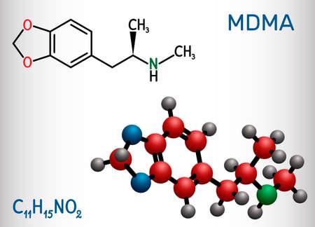3,4-Methylenedioxymethamphetamine, MDMA, XTC, ecstasy molecule. It is psychoactive, hallucinogen drug. Structural chemical formula and molecule model. Vector illustration