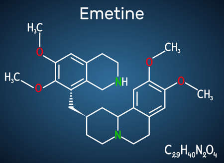 Emetine molecule. It is an antiprotozoal agent and emetic. Structural chemical formula on the dark blue background. Vector illustration Ilustrace