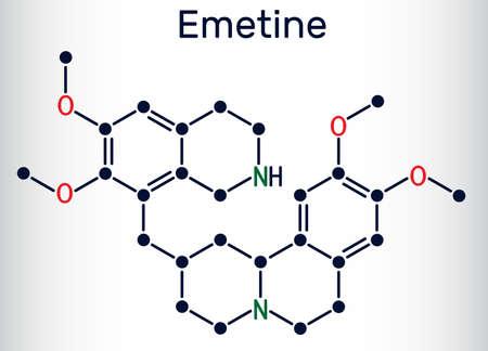 Emetine molecule. It is an antiprotozoal agent and emetic. Skeletal chemical formula. Vector illustration 일러스트