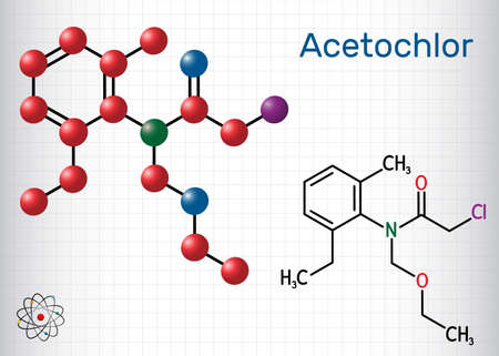 Acetochlor molecule. It is chloroacetanilide, herbicide, a xenobiotic and an environmental contaminant. Structural chemical formula and molecule model. Sheet of paper in a cage. Vector illustration Ilustrace