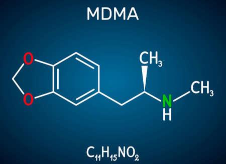 3,4-Methylenedioxymethamphetamine, MDMA, XTC, ecstasy molecule. It is psychoactive, hallucinogen drug. Structural chemical formula on the dark blue background. Vector illustration