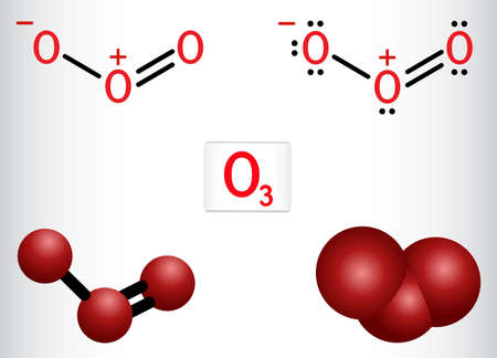 Ozone, O3, trioxygen, inorganic molecule. It is an allotrope of oxygen. Structural chemical formula and molecule model. Vector illustration
