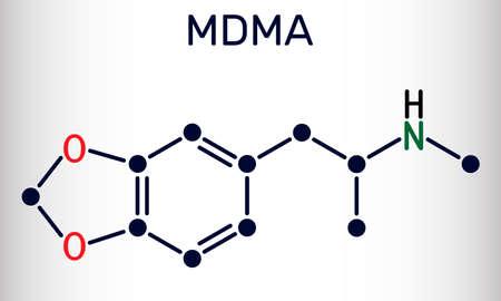 3,4-Methylenedioxymethamphetamine, MDMA, XTC, ecstasy molecule. It is psychoactive, hallucinogen drug. Skeletal chemical formula. Vector illustration