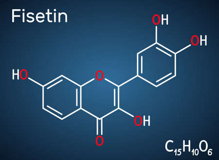 Fisetin molecule. It is plant flavonol from the flavonoid group of polyphenols. Structural chemical formula on the dark blue background. Vector illustration
