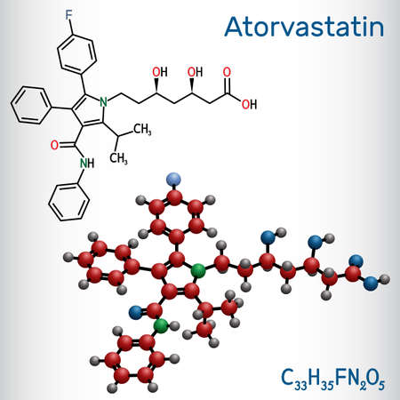 Atorvastatin, statin molecule. It is used for lowering blood cholesterol and for preventing cardiovascular diseases. Structural chemical formula and molecule model. Vector illustration