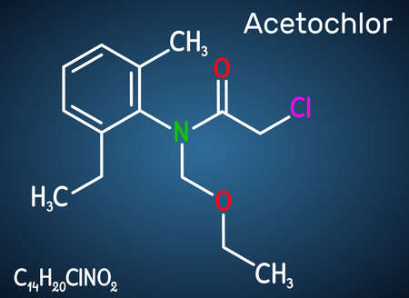 Acetochlor molecule. It is chloroacetanilide, herbicide, a xenobiotic and an environmental contaminant. Structural chemical formula on the dark blue background. Vector illustration