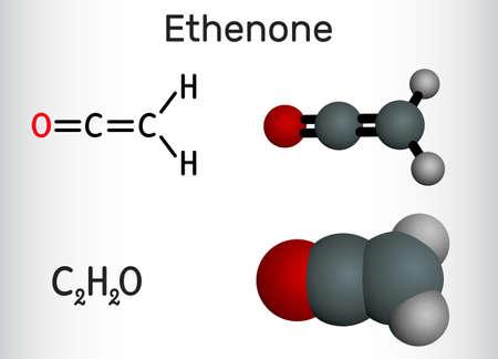Ethenone, ketene, Câ''Hâ''O molecule. Structural chemical formula and molecule model. Vector illustration Ilustrace