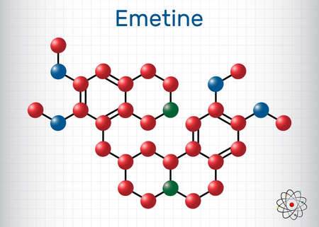 Emetine molecule. It is an antiprotozoal agent and emetic. Structural chemical formula and molecule model. Sheet of paper in a cage. Vector illustration