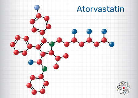 Atorvastatin, statin molecule. It is used for lowering blood cholesterol and for preventing cardiovascular diseases. Sheet of paper in a cage. Vector illustration Ilustrace
