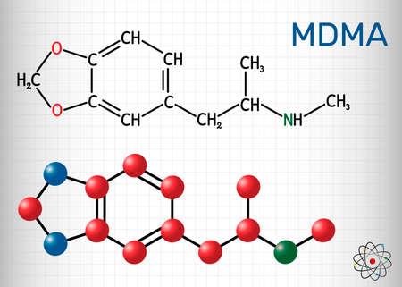 3,4-Methylenedioxymethamphetamine, MDMA, XTC, ecstasy molecule. It is psychoactive, hallucinogen drug. Structural chemical formula and molecule model. Sheet of paper in a cage.Vector illustration Ilustrace