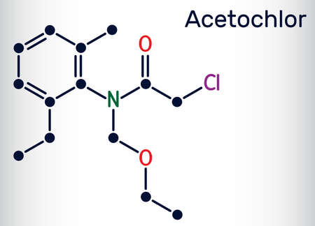 Acetochlor molecule. It is chloroacetanilide, herbicide, a xenobiotic and an environmental contaminant. Skeletal chemical formula. Vector illustration Ilustrace