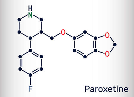 Paroxetine, antidepressant, selective serotonin reuptake inhibitor SSRI, molecule. It is used in the therapy of depression, anxiety disorders. Skeletal chemical formula