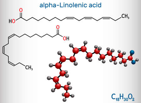 Alpha-linolenic acid, ALA molecule. Carboxylic, polyunsaturated omega-3 fatty acid. Component of many common vegetable oils. Structural chemical formula, molecule model