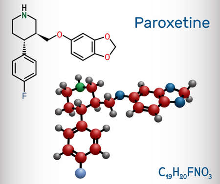 Paroxetine, antidepressant, selective serotonin reuptake inhibitor SSRI, molecule. It is used in the therapy of depression, anxiety disorders. Structural chemical formula and molecule model. Vector illustration