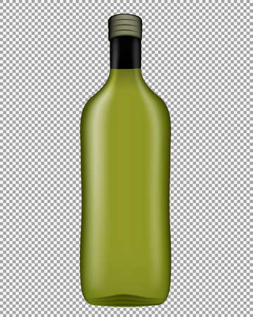 Realistic glass oil bottle with screw cap, without label isolated on transparent background. Vector illustration 일러스트