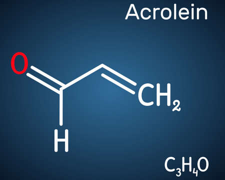 Acrolein, propenal, unsaturated aldehyde molecule. It is used as a pesticide and to make other chemicals. Structural chemical formula on the dark blue background. Vector illustration
