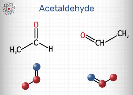 Acetaldehyde, ethanal, CH3CHO molecule. It is ketone, is used in the manufacture of acetic acid, perfumes, dyes, drugs, as a flavoring agent. Sheet of paper in a cage. Vector illustration