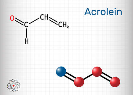 Acrolein, propenal, unsaturated aldehyde molecule. It is used as a pesticide and to make other chemicals. Structural chemical formula and molecule model. Sheet of paper in a cage.Vector illustration Illustration
