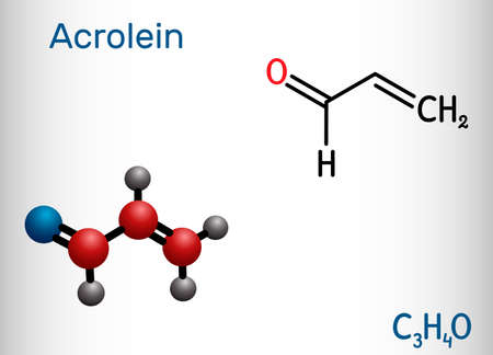 Acrolein, propenal, unsaturated aldehyde molecule. It is used as a pesticide and to make other chemicals. Structural chemical formula and molecule model. Vector illustration