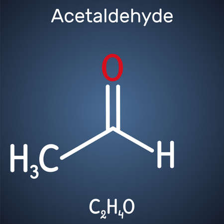 Acetaldehyde, ethanal, CH3CHO molecule. It is ketone, is used in the manufacture of acetic acid, perfumes, dyes, drugs, as a flavoring agent. Structural chemical formula on the dark blue background. Vector illustration