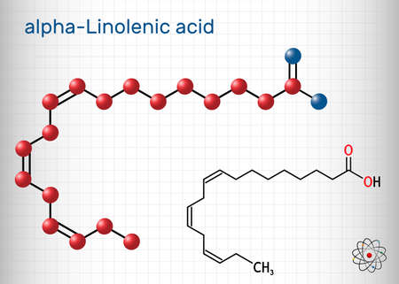 Alpha-linolenic acid, ALA molecule. Carboxylic, polyunsaturated omega-3 fatty acid. Component of many common vegetable oils. Sheet of paper in a cage. Vector illustration