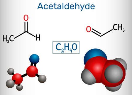 Acetaldehyde, ethanal, CH3CHO molecule. It is ketone, is used in the manufacture of acetic acid, perfumes, dyes, drugs, as a flavoring agent. Structural chemical formula and molecule model. Vector illustration