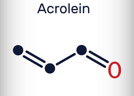 Acrolein, propenal, unsaturated aldehyde molecule. It is used as a pesticide and to make other chemicals. Skeletal chemical formula. Vector illustration Illustration