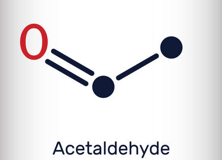 Acetaldehyde, ethanal, CH3CHO molecule. It is ketone, is used in the manufacture of acetic acid, perfumes, dyes, drugs, as a flavoring agent. Skeletal chemical formula. Vector illustration