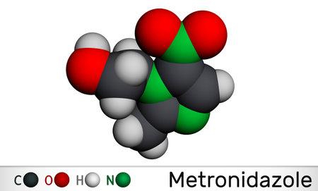 Metronidazole, antiprotozoal medication molecule. It is antibiotic, belonging to the nitroimidazole class of antibiotics. Molecular model. 3D rendering