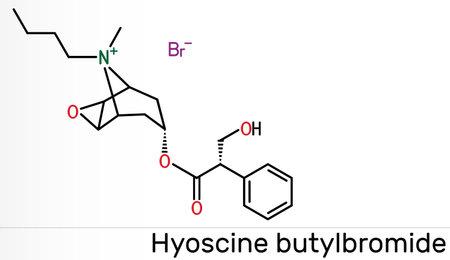 Hyoscine butylbromide, scopolamine butylbromide, butylscopolamine, butylhyoscine molecule. It is antimuscarinic, anticholinergic agent. Skeletal chemical formula Banque d'images