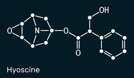 Hyoscine, scopolamine. L-Scopolamine molecule. It is natural plant alkaloid, psychoactive, anticholinergic, antimuscarinic drug. Skeletal chemical formula on the dark blue background. Illustration Banque d'images