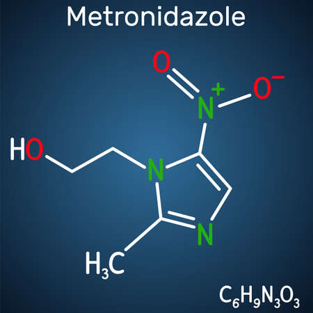 Metronidazole, antiprotozoal medication molecule. It is antibiotic, belonging to the nitroimidazole class of antibiotics. Structural chemical formula on the dark blue background. Vector illustration