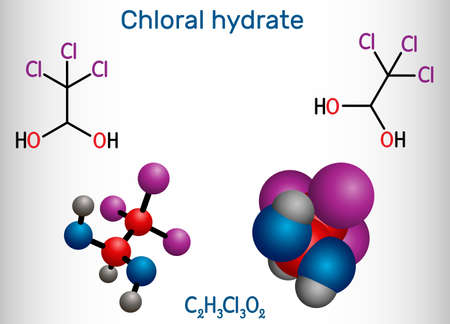Chloral hydrate. geminal diol, anesthetic molecule. A synthetic monohydrate of chloral, hypnotic and sedative, anticonvulsive drug. Structural chemical formula and molecule model. Vector illustration