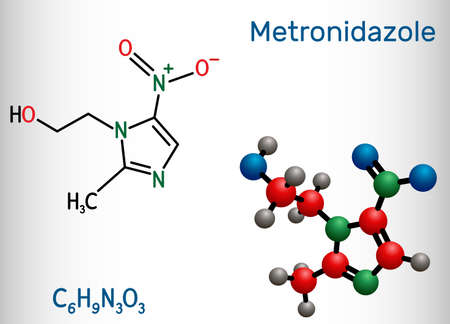 Metronidazole, antiprotozoal medication molecule. It is antibiotic, belonging to the nitroimidazole class of antibiotics. Structural chemical formula and molecule model. Vector illustration Banque d'images - 162629079
