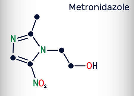 Metronidazole, antiprotozoal medication molecule. It is antibiotic, belonging to the nitroimidazole class of antibiotics. Skeletal chemical formula. Vector illustration Banque d'images - 162629083
