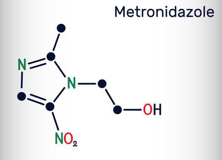 Metronidazole, antiprotozoal medication molecule. It is antibiotic, belonging to the nitroimidazole class of antibiotics. Skeletal chemical formula. Vector illustration