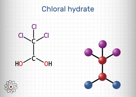 Chloral hydrate. geminal diol, anesthetic molecule. A synthetic monohydrate of chloral, hypnotic and sedative, anticonvulsive drug. Structural chemical formula and molecule model. Sheet of paper in a cage. Vector illustration Illustration