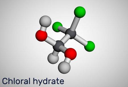 Chloral hydrate. geminal diol, anesthetic molecule. A synthetic monohydrate of chloral, hypnotic and sedative, anticonvulsive drug. Molecular model. 3D rendering. Illustration Banque d'images