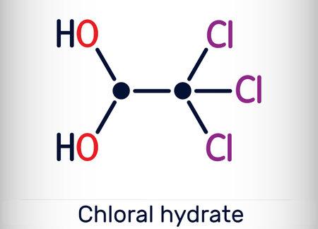 Chloral hydrate. geminal diol, anesthetic molecule. A synthetic monohydrate of chloral, hypnotic and sedative, anticonvulsive drug. Skeletal chemical formula. Vector illustration