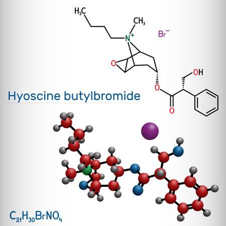 Hyoscine butylbromide, scopolamine butylbromide, butylscopolamine, butylhyoscine molecule. It is antimuscarinic, anticholinergic agent. Structural chemical formula and molecule model. Vector illustration