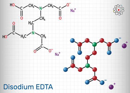 Disodium EDTA, edetate disodium, disodium edetate, molecule. It is diamine, is polyvalent chelating agent used to treat hypercalcemia. Sheet of paper in a cage.Vector illustration