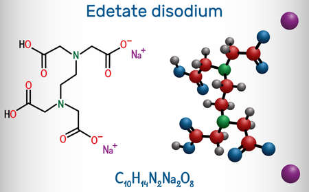 Disodium EDTA, edetate disodium, disodium edetate, molecule. It is diamine, is polyvalent chelating agent used to treat hypercalcemia. Structural chemical formula and molecule model. Vector illustration