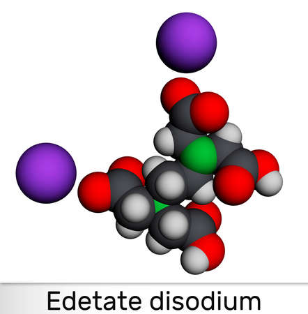 Disodium EDTA, edetate disodium, disodium edetate, molecule. It is diamine, is polyvalent chelating agent used to treat hypercalcemia. Molecular model. 3D rendering. 3D illustration