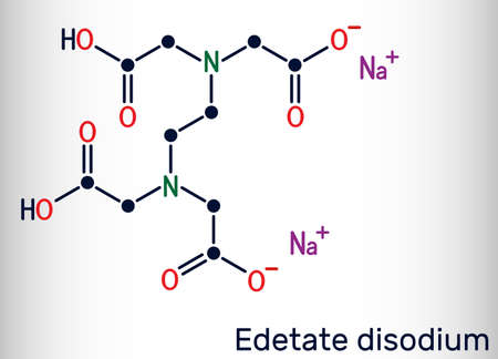 Disodium EDTA, edetate disodium, disodium edetate, molecule. It is diamine, is polyvalent chelating agent used to treat hypercalcemia. Skeletal chemical formula. Vector illustration Illustration
