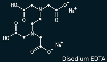 Disodium EDTA, edetate disodium, disodium edetate, molecule. It is diamine, is polyvalent chelating agent used to treat hypercalcemia. Skeletal chemical formula on the dark blue background. Illustration Banque d'images - 162629326