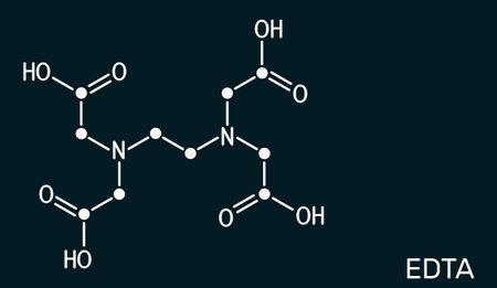 Ethylenediaminetetraacetic acid, edetic acid, EDTA molecule. It is a lead chelator and anti-coagulant. Skeletal chemical formula on the dark blue background. Illustration Banque d'images