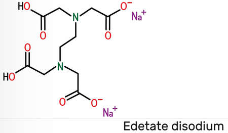 Disodium EDTA, edetate disodium, disodium edetate, molecule. It is diamine, is polyvalent chelating agent used to treat hypercalcemia. Skeletal chemical formula. Illustration Banque d'images